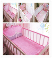 Wholesale Girls Strawberry Bedding - Strawberry Cute Girl and Butterfly Design,HOT HOT!!4 Pieces Bumpers + 1 Piece Sheet,Baby Girl Crib Bedding Set,Baby Accessories