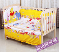 Wholesale Watermelon Bedding Set - 5 Pieces Baby bedding set Giraffe Bear character bed around pillow sheet Children bedding sets 100% cotton baby nursery bedding