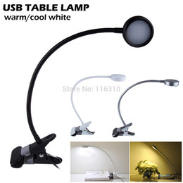 Wholesale Table Lamps Led Lighting - LED Flexible Reading Light Clip-on Bed Table Desk Lamp Day White Learning bedside reading lamp Dimmable USB mini LED table lamp