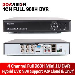 Wholesale Cms H 264 Cctv - Mini 1U 4CH H.264 CCTV DVR 2Ch 960H+2Ch 960P Upto 1920*1080 HDMI Output 4Ch 1080P ONVIF NVR P2P iCloud   CMS   Smartphone View