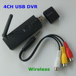 Wholesale Wireless Video Camera Usb Receiver - 2.4G 4CH USB DVR Wireless Camera AV Receiver Converter Video Audio for PC CCTV