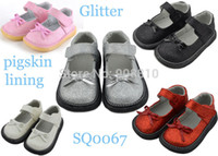 Wholesale Black Flat Mary Jane Shoes - The girls shoes silver white red glitter mary jane flat sole with bowtie for wedding christenning wholesale retail free shipping