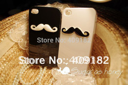 4s dos en Ligne-2pcs / lot Cover Case Beard New Hot LEON Chaplin Sexy 3D Mustache Hard Back pour Apple iPhone 4 4S Lovers Couple