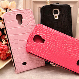 Wholesale S4 Flip Case Logo - Hot Selling Bling Crystal Vertical Flip Crocodile Leather Cover Case for Samsung Galaxy S4 S5 Note 4 3 Bling Logo Cases