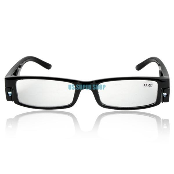 c8310b97753 Fashion Unisex Reading Glasses Black Frame Diopter +3.5 with Led ...