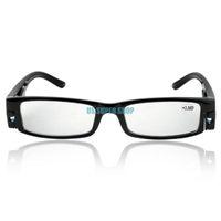 лампы для чтения очков оптовых-fashion unisex reading glasses black frame diopter +3.5 with led light power 350 oculos EQ9361