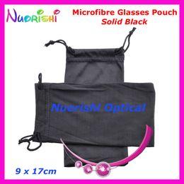 Wholesale Soft Eyeglass Pouches - 50pcs Wholesale Black or Grey Double Drawstring Microfibre Sunglass Glasses Eyeglass Soft Case Bag Pouch Free Shipping CP030