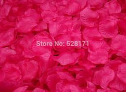 Wholesale Hot Pink Silk Flowers - Wholesale-Free Shipping 1200pcs hot pink Silk Rose Petals Supply Flowers petals Favor For Wedding Party Decoration