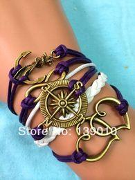 Wholesale Women S Infinity Bracelet - Free Shipping!3PCS LOT!2015 New Style Antique Retro Anchor Heart Cuff Bracelet Personlized Women Compass Infinity Jewelry S-818
