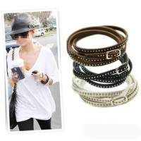 Wholesale Cuff Studs - Unisex Womens Vogue Wrap Cuff Bangle Punk Multilayer Leather Rivet Stud Bracelet