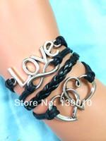 Wholesale Men S Infinity Bracelet - Promotions Wholesale!Antique Silver Heart LOVE Infinity Charm Cuff Bracelet Fashion Black Leather Rope Jewelry For Men S-786