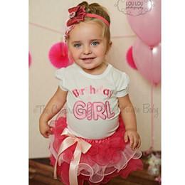 Wholesale T Shirt Layered Skirts - whole Free Shipping New 2pcs Cloth suit baby short sleeve Happy birthday t shirt +Bow tutu layered cake skirts girl summer