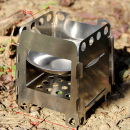 Wholesale Lightweight Multi Fuel Camping Stoves - Pocket Lightweight Stainless Steel Folding Wood Stove Outdoor Camping Alcohol Stove Cooking Multi Fuel Stove Burner 9*8*11cm