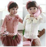Wholesale Kids Girls Cardigan Flower Shirt Coat - Sale 2015 New arrival Flower sweaters cardigan girls baby kids long sleeve tops coats princess shirt 5pcs free ship 600124J
