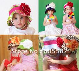 Wholesale Doomagic Baby Hats - Free shipping 3pcs lot New Arrival !! (6 designs) doomagic girls summer hats   baby flower sun hat