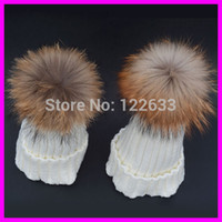 Wholesale Babys Beanies - 2015 New Brand Winter Kids babys 100% Real Raccoon Fur Hats Knitted Wool With Gunuine Fur Pompom Beanies Hat Cap For Children