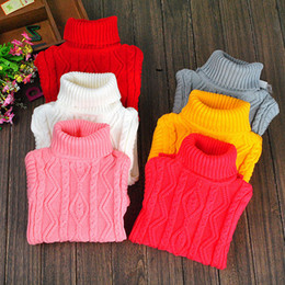 Wholesale Childrens Sweaters Knitted - 2015 Hot Sale 2-15Year Infant Baby Boys Girls Childrens Kids Knitted Winter Autumn Pullovers Turtleneck Warm Outerwear Sweaters