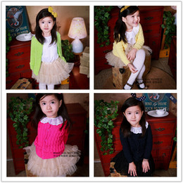 Wholesale Girls Colorful Cardigans - 2015 spring children kids candy sweet colorful sweater baby boy cute girls weater free shipping five colors