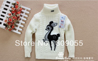 Großhandel--3pcs/lot Baby Cartoon deer Niedlich Pullover Rollkragen Pullover Herbst/Winter warme Strick-Kinder gestrickte base-shirt
