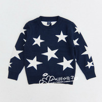 Wholesale Cardigans Unisex - High Quality Autumn Spring soft Knitted Boys Girls Sweater Baby Pullover Sweaters Stars Kids clothes Wholesale Free Shipping