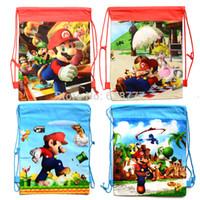 Wholesale Super Mario Party Favor Bags - 2015 Hot Mario Kids Cartoon Drawstring Backpack School Bags Super Children School Bags Shopping Bag ,Party Favor