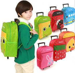 Wholesale Kids Bags Wheels - New Free Shipping Cartoon Multiple-Function Child Rolling Luggage Trolley School Bag Kid Backpack Unisex Tour Suitcase in Stock