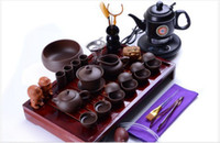 Wholesale Kettle Sets - yixing purple clay Tea set yixing kung fu tea set solid wood tea tray tea sea with electric kettle