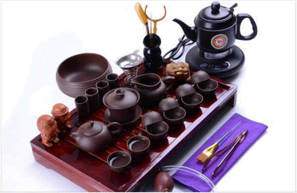 yixing purple clay set yixing kung fu set solid wood tray sea with electric kettle