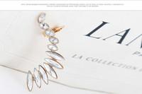 Wholesale Wing Top Ear Cuff - Wholesale-New Fashion Single Leverback Cuff Earrings Angel Wings Earrings Top Quality Crystal Feather Ear Cuff Clip