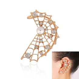 Wholesale Cobweb Earrings - Wholesale-Hot Fashion Exaggerated Punk Cobweb Ear Cuff Clip On Earrings for women fine jewelry earhook temperament jewelry