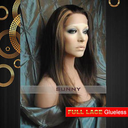 "Glueless Lace Celebrity Wigs Australia - Glueless Full Lace Celebrity Hairstyle 12""-24"" Silky Straight #4 27 Human Hair Wigs GFL015"