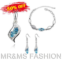 Wholesale Necklace Peacock Free Shipping - Free Shipping Wholesale Best Gift 18K Angel Tear Drop Crystal Necklace Set Fashion Necklace Earrings Bracelet Jewelry Sets 11421