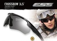 ess lentilles arbalètes achat en gros de-Gros-Haute qualité ESS Crossbow Sports de plein air Armée de l'armée de lunettes de protection lunettes de soleil 3 lentille boîte de détail d'origine Lunettes Livraison gratuite