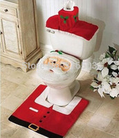 Wholesale Thermal Toilet Seats - 1set Christmas Santa Claus Bathroom toilet seats cover mat -Toilet cover +contour rug + tank cover, thermal potty+free shipping