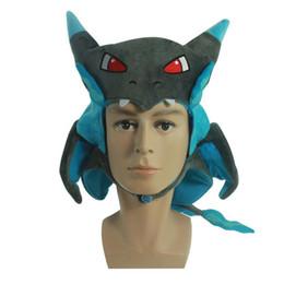 Wholesale Dragon Baby Hats - Pikachu XY Charizard hat poke plush pikachu Dragon Cover Animal Stuffed Plush Hat Toy Baby Gift EMS