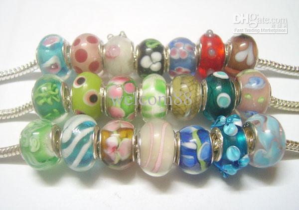 50 sztuk / partia Mix Styl Murano Lampwork Szkło Europejskie Koraliki Charm Bransoletka Naszyjnik Dla DIY Craft Biżuteria C20