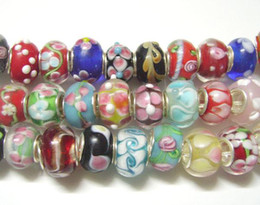 50 unids / lote Mix Style Murano Lampwork Glass Beads Europeo Charm Bracelet Necklace Para DIY Craft Jewelry C20