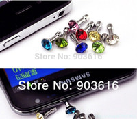 All'ingrosso-100pcs / lot piccolo diamante di lusso strass 3.5mm spina spina auricolare per Ipad, all'ingrosso