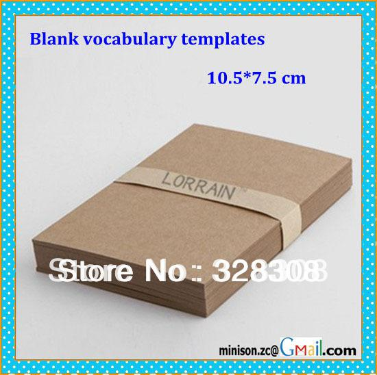 Blank Vocabulary Templates Kraft Paper Color And White Flash Paper