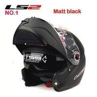 Wholesale Motorbike Full Face Helmets - Wholesale-Top quality LS2 double lens flip up motorcycle helmet Modular motorbike helmet FF 370