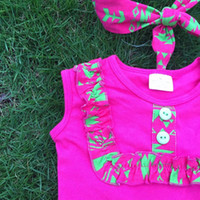 Wholesale Girl Accessories Bulk - bulk sell girls clothing children hot pink clothes tops t shirt + pants baby kids suits 2 pcs suit retail with accessories
