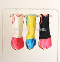 Wholesale Shampooers Set - Brand new Children Shampooers Tracksuits Boys Jogging Sport set vest+shorts kids baby clothing girls Summer clothes Suit