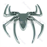 "Wholesale Spider Decal Motorcycle - B86""Silver 3D Spider Araneid Motorcycle Car Truck Logo Emblem Badge Decal Sticker"