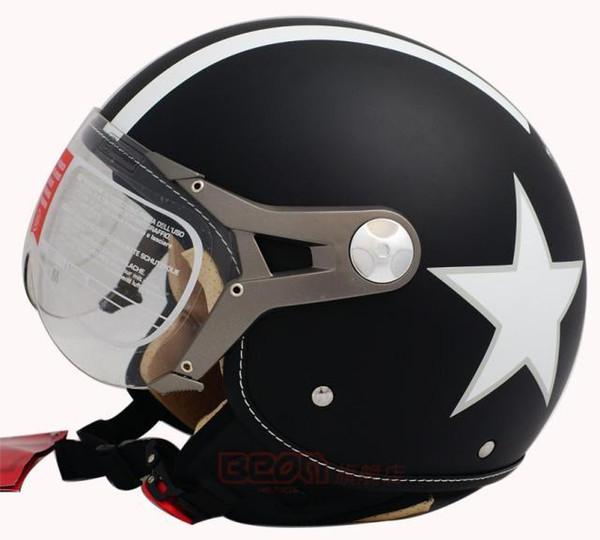 Envío gratis Moda Halley Beon motocicleta vintage 3/4 casco Scooter medio casco B-100 estrella afortunada cara abierta capacete ECE
