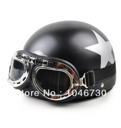 Wholesale Motorcycle Helmet Electric Visor - 2015 New Vespa Open Face Half motorcycle helmet electric motorbike hard hats+Goggles+Visor Dumb black star Free Shipping