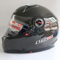 Wholesale Motorcycle Helmet Ls2 Carbon - dual Lens system LS2 carbon fiber motorcycle helmet safety motorbike helmet air bag edition