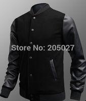 Wholesale Leather Hoodie Shirts - 2015 Autumn Winter Mens Cotton Leather Patchwork Fashion Jackets Baseball Shirt Baseball Uniform Jacket Men Hoodies Sweatshirts