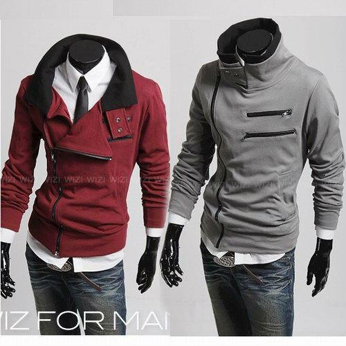 ac6f77d13 New Korean Men's Hoodies & Sweatshirt Zippered stand Collar Without Hood  Wine red/Black/