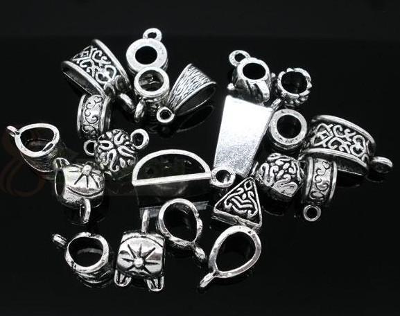 Perle di cordone tono argento miste. Bracciale con charm 200 pezzi lotto