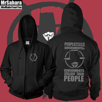 Wholesale Hacker Masks - V For Vendetta zip up Hoodie Anonymous Guy Fawkes Mask hacker sweatershirt